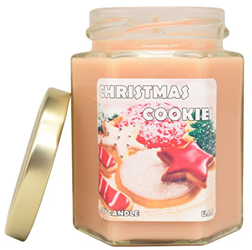Christmas Cookies EXTRA SCENTED Soy Candle For Thanksgiving, Christmas, Hanukkah, Kitchen, Bath and bedroom. Great for Aromatherapy and relaxation.