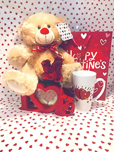 Valentines Day Lovers Gift Basket| 12 inch Teddy Bear...