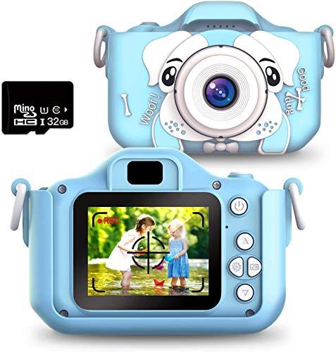 Kinder Kamera, Pellor Kinder Digital Kameras mit 1080P HD Toy Camera 2 Inch Video Recorder, 32GB SD Card,Multifunktional Kinder Digital Fotokamera Videokamera,3-14 Jahre Jungen Mädchen (Blau)