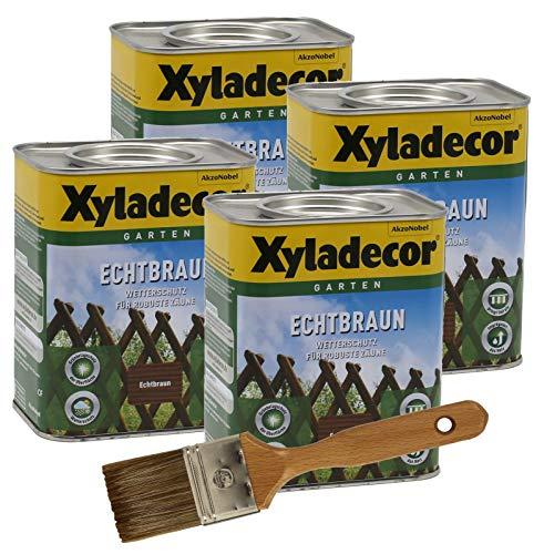 Xyladecor Echtbraun Zaunlasur 4x 0,75L + Pinsel Holzschutzlasur Holzschutz