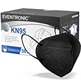 KN95 Face Mask 50 Pack, Eventronic 5-Layer Breathable Cup Dust Mask with Elastic Earloop and Nose Bridge Clip, Air Pollution, Black