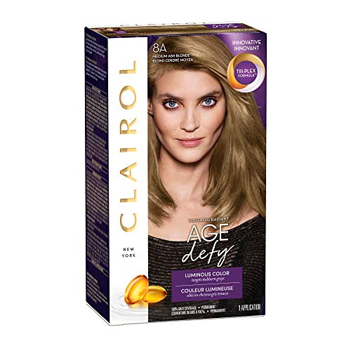 Clairol Age Defy Permanent Hair Color, 8A Medium Ash Blonde, 1 Count