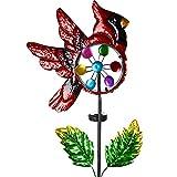 VEWOSTAR Solar Wind Spinners Metal Red Cardinal Bird Outdoor Decor Solar Windmill Pathway Light for Garden