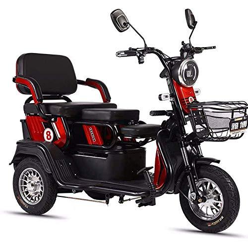 XCJJ Elektromobil mit Rollkorb, 3-Rad-Motorroller für Erwachsene, Drive Medical Elektroroller, 48V 20Ah Lithiumbatterien,rot