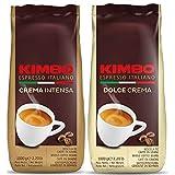 Kit de Paquetes de Granos de Café Enteros Kimbo - (2 bolsas x 1kg) - Crema Intensa, Dolce Crema