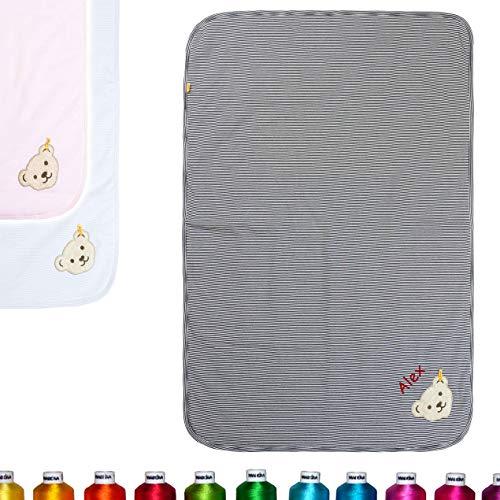 LALALO Steiff babydeken geborduurd met naam, individuele knuffel- en kruipdeken, gepersonaliseerde deken met naam voor baby's als geschenk voor geboorte, verjaardag & doop Eén maat Navy/donkerblauw