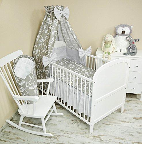 Amilian® Baby Bettwäsche 5tlg Bettset mit Nestchen Kinderbettwäsche Himmel 100x135cm NEU Vollstoffhimmel Retro Weiß auf Grau