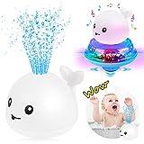 Sinoeem Kinder Schwimmende 2 in 1 Badespielzeug Wasserspielzeug Automatische Induktions Sprinkler Wal mit Licht und Musik, Babyspiel Wasserbad Spielzeug für Baby Kleinkinder Kinder Party (Weiß)