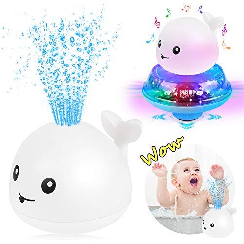 Sinoeem Kinder Schwimmende 2 in 1 Badespielzeug Wasserspielzeug Automatische Induktions Sprinkler Wal mit Licht und Musik, Babyspiel Wasserbad Spielzeug für Baby Kleinkinder (Weiß)