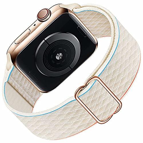 HILIMNY Solo Loop Kompatibel mit Apple Watch Armband 38mm 40mm für Männer Frauen, geflochtenes elastisches elastisches Nylon Sport Ersatzband für IWatch Serie 6/5/4/3/2/1 / SE, Cream 38mm 40mm