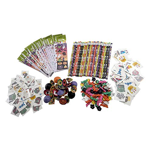 246 Pieces in Bulk, Treats for Kids at Halloween, Toy Novelty Gift Bag Assortment, 96 Fun Tattoos, 24 Scary Pencils, 30 Sticker Sheets, 24 Spinning Tops & 72 Erasers, Candy Alternative by 1Swish
