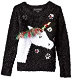 Blizzard Bay Girls Ugly Chrismas Sweater, Black/White/Unicorn, 6X