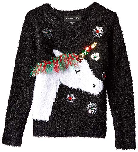 Blizzard Bay Girls Ugly Chrismas Sweater, Black/White/Unicorn