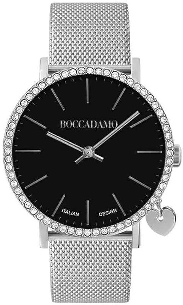 Boccadamo mya 33 casual,orologio per donna,lunetta in cristalli swarovski, charm laterale a forma di cuore MX005