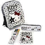 (Weiß) Hello Kitty 'KISS' Rucksack, Federmäppchen, Bundstifte und Malblock im Komplettset. Kindergarten Tasche Sanrio Kindergartentasche …