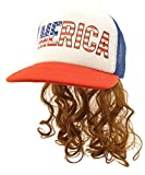 USA Mullet Hat Brown Wig Merica Redneck 4th of July All American Costume