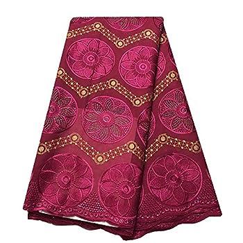 2020 Cotton Fushia Nigeria Lace Fabric 5 Yards with Rhinestone African Fabrics Swiss Voile Lace New Style