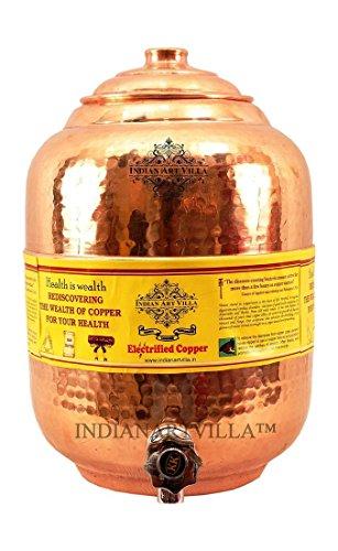 indischen Kunst Villa reines Kupfer 5Ltr. Wasser Topf Speicher mit Wasserhahn Küche Home Garten Gesundheit