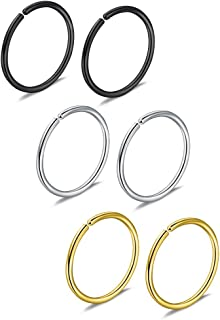 6pcs 20G 8mm Non Pierced Stainless Steel Clip on Closure Round Ring Fake Nose Lip Helix Cartilage Tragus Ear Hoop