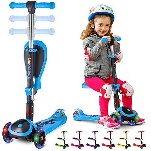Great Deal! S SKIDEE Scooter for Kids with Foldable and Removable Seat – Adjustable Height, 3 LED ...