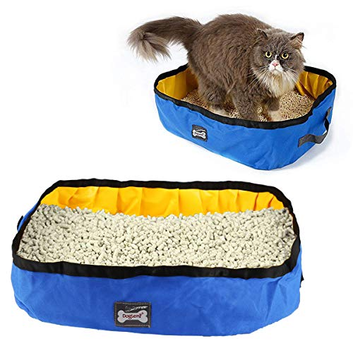RCruning-EU Katzentoilette Faltbare Katzentoilettenhaus Draussen Katzenklo Tragbare Reise Katzen Box 46 X 35 X 14cm