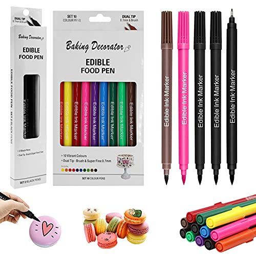 JOLIGAEA 12 PCS Bolígrafos Comestibles para Decoración de Pasteles, Marcador de Coloración de Doble Punta, Colorante Alimentario de Bricolaje para Decorar Huevos de Pascua, 10 Colores