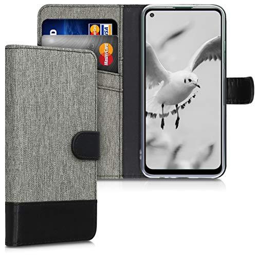 kwmobile Hülle kompatibel mit Huawei P40 Lite E - Kunstleder Wallet Case mit Kartenfächern Stand in Grau Schwarz