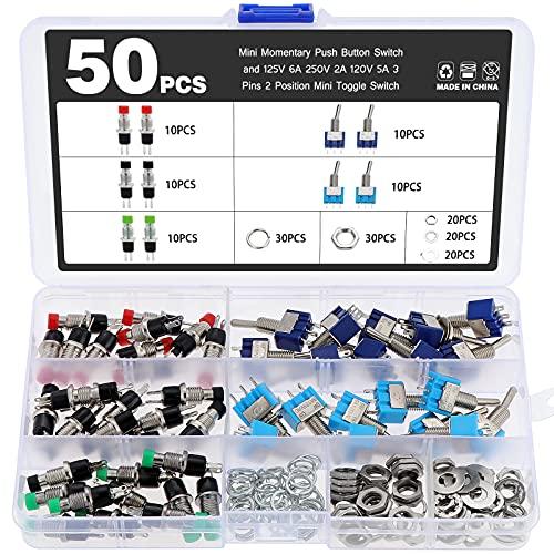 eROOSI 50PCS Mini interruptor de botón momentáneo y 125V 6A 250V 2A 120V 5A 3 pines 2 posiciones Mini interruptor de palanca para bricolaje y proyectos electrónicos de pequeña potencia