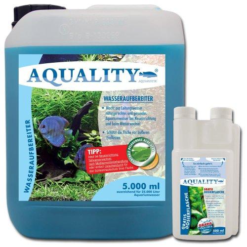 AQUALITY Aquarium Wasseraufbereiter (GRATIS Lieferung in DE - Macht aus Leitungswasser naturgerechtes Aquariumwasser - Schützt Ihre Fische - Ideal bei Neueinrichtung und Wasserwechsel), Inhalt:5 Liter