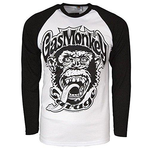 Gas Monkey Garage Mercancía con Licencia Oficial 04 Baseball Manga Larga Camiseta (Blanco/Negro)