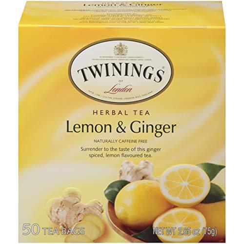 Twinings of London Lemon and Ginger Herbal Tea Bags, 50 Count (Pack of 6)