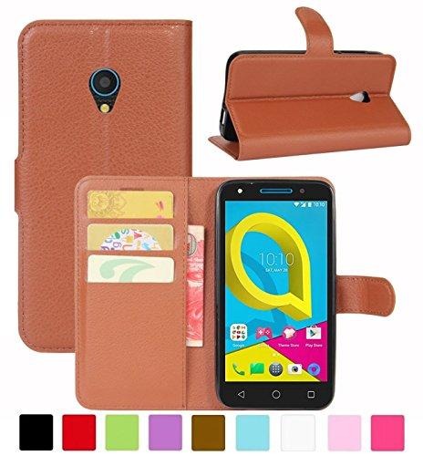 HualuBro Alcatel U5 3G Hülle, Leder Brieftasche Etui Tasche Schutzhülle HandyHülle [Standfunktion] Leather Wallet Flip Hülle Cover für Alcatel U5 3G (Braun)