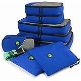 Juego de 8 cubos de embalaje de viaje, bolsas organizadoras ligeras perfectas para compresión, viajes de negocios o viajes de negocios, con correa de equipaje gratis, Azul eléctrico. (Azul)