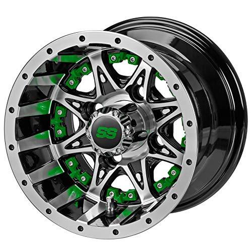 "10"" Revenge Black/Machined Golf Cart Wheel w/Green Inserts"