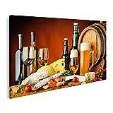 Bild Bilder auf Leinwand Wein Bier Lebensmittel Stilleben