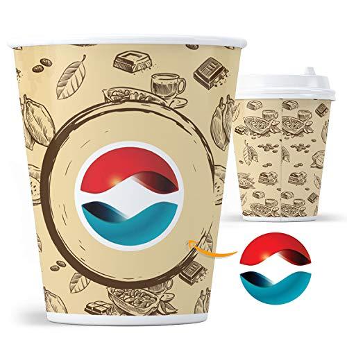 100 Bicchieri di Carta Personalizzati Piccoli 120ml 4oz (es. caffè) per aziende e uffici con Il Tuo Logo Bicchieri riciclabili, sostituto Ecologico a Bicchieri di plastica