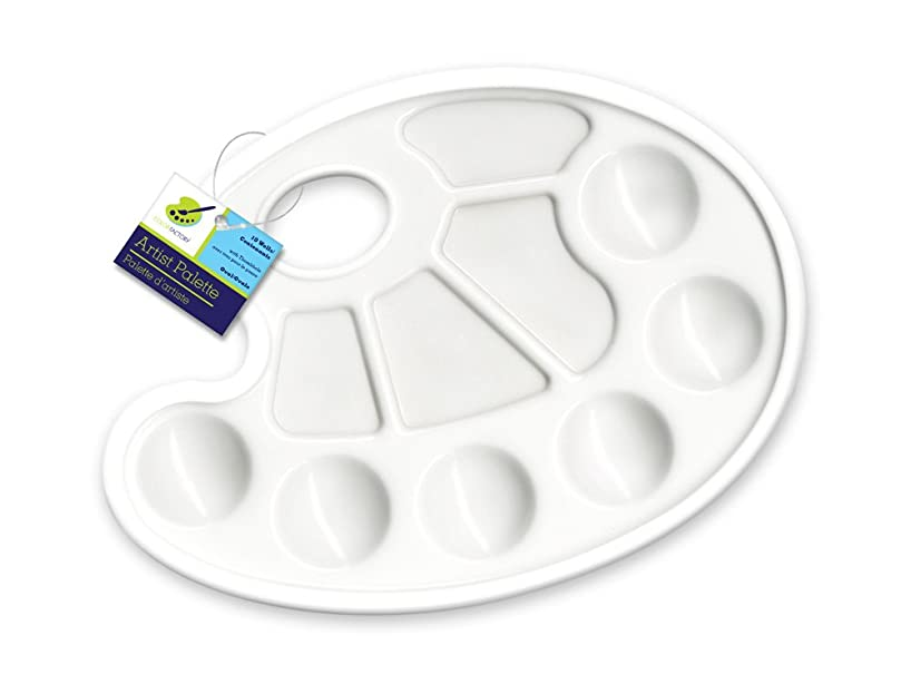 Color Factory Oval Paint Palette, 9in by 7in, Plastic, 10-Well, 9