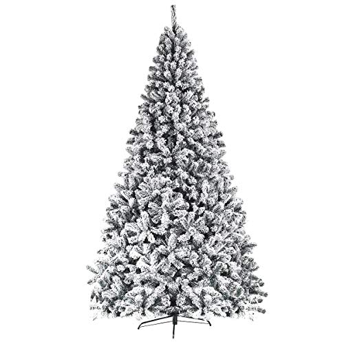 Goplus 9FT Artificial Christmas Tree, Snow Flocked Hinged Pine Tree, Premium PVC Needles/Solid Metal Stand, Xmas Full Tree for Indoor and Outdoor