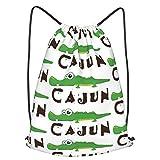 Cajun Gator zaino con coulisse, zaino da viaggio per la scuola, zaino leggero, per uomini e donne