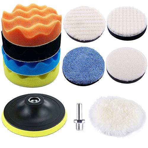OULIDEPI 11Pcs 5Inch Car Polishing Pads Kit Waxing Buffing Pads Wool Polishing Buffer Pads with M14 Drill Adapter for Car Polisher Attachment Care Polishing, Sanding, Waxing