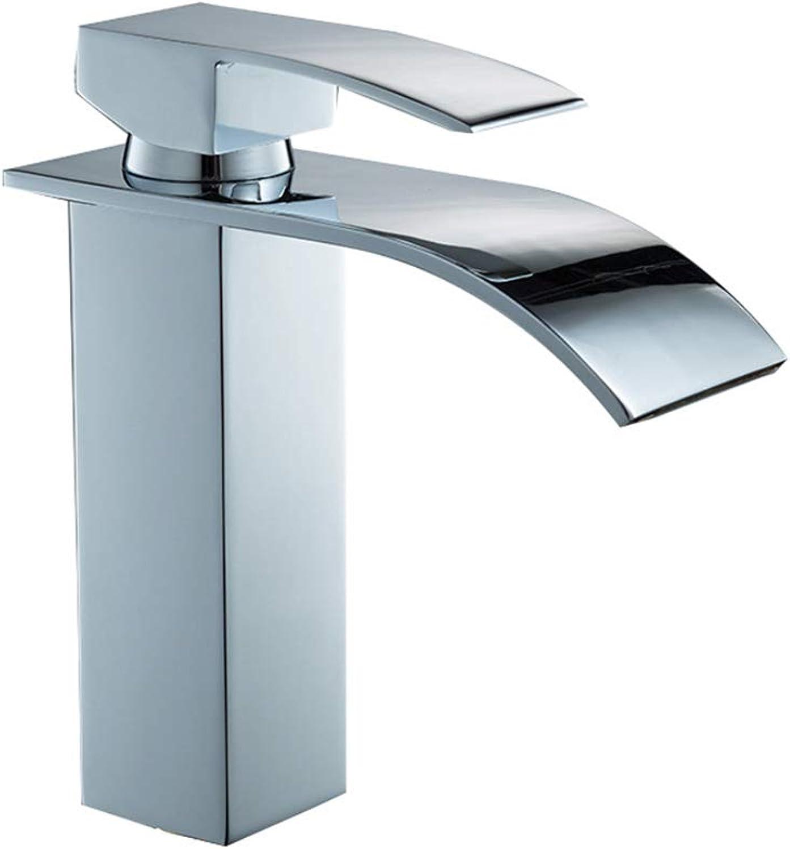 ZYLBS Modern Wasserfall Wasserhahn Einzelloch Warmes und kaltes Wasser Badezimmer sinken Wasserhahn Hahn Waschbecken Stange ziehen Wasserhahn Wasserfall Quadrat Wasserhahn,S
