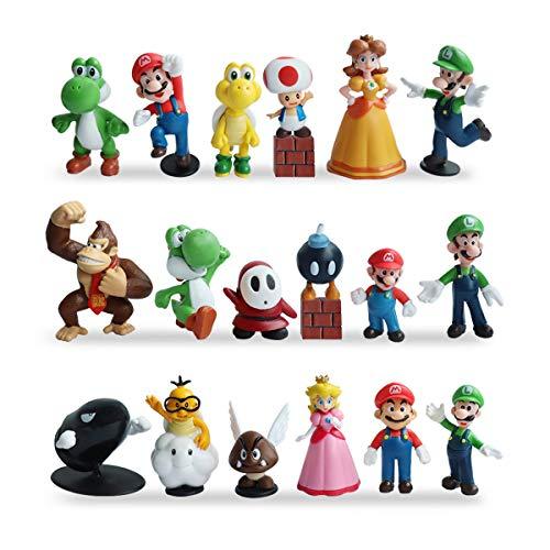 HXDZFX 20 PCS Super Mario Action FiguresSuper Mario Bros FigurinesLuigiYoshiPeach PrincessDaisy PrincessCoinBrickPerfect Mario Cake Topper Decorations