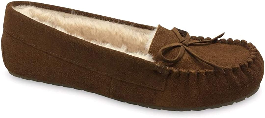 Chestnut Plush Lined Suede Moccasin Slipper