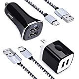 2.4A Dual Port USB Car Charger + 2.1A Dual Port Wall Charger Block Charging Brick Box + 2Pack USB Type C Cable Power Cord Phone Charger Compatible LG Stylo 4/5, LG G8 G7 G6 G5 V30 V35 V40 V50 ThinQ