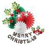 SUNBEAUTY メリークリスマス バナー ペーパーデコレーションキット クリエイティブ スノーフレーク ペーパーファン ヤドリギ ガーランド デコレーション SD-SNG13