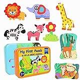 jerryvon Puzzle Animales Rompecabezas Madera 2 Cajas en 1 Juego (11 Animales)...