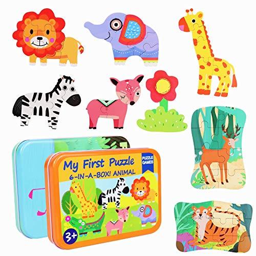Puzzle Animales Rompecabezas Madera 2 Cajas en 1 Juego (11 Animales) Puzzles Infantiles Juegos Educativos Montessori Regalos Cumpleaño para Niños Puzzle Juguetes Niños Niñas 3 4 5 6 Años