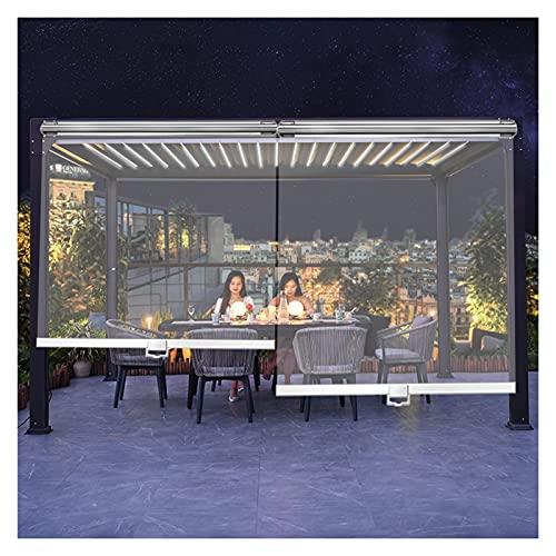 HWF Outdoor Clear Cordless Roller Shade, Vinyl Plastic Exterior Roller Blind for Pergola Patio Gazebo Outside, 60cm/80cm/100cm/120cm/140cm/150cm Wide (Color : W×H, Size : 100cm × 140cm(39.3' × 55'))