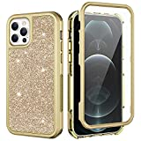 Ruky iPhone 12 Pro Max Case, iPhone 12 Pro Max Glitter Full Body with Built-in Screen Protector Shiny Sparkle Bling Soft TPU+Hard PC Shockproof Protective Women Girls Case for iPhone 12 Pro Max, Gold