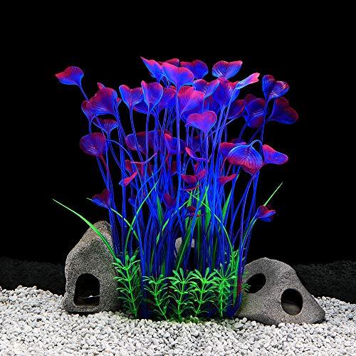 Große Aquarienpflanzen Künstliches Plastik Aquarium Pflanzen Dekoration Ornament Plastik Lebendige Simulation Pflanzenkreatur Aquarienlandschaft 15,7 (40 cm) Zoll Hoch 7,09 (18 cm) Zoll Breit - Blau